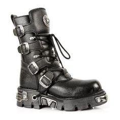 New Rock Hombres Metálico Negro Cuero Largo Zapatos - M.591.S2 (EU 40, Negro)