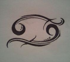 Cancer Zodiac Tribal Tattoos   Amazing Black Ink Cancer Zodiac Tattoo Design