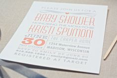 Modern Baby Shower Invite Gray & Yellow Linear by SweetPotatoShop