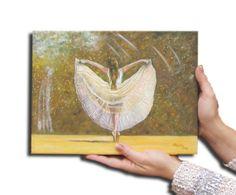 Oil painting Ballerina,white beige green brown rose,dancer, 10X13,Fine art Wall decor, free shipping,gift for all