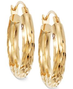 Textured Chunky Hoop Earrings in 14k Gold 450 liked on