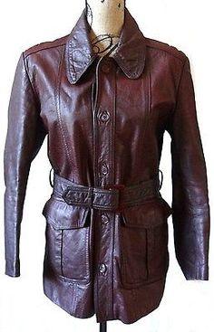 Vintage Cowhide Leather Burgundy 1970s Women's Jacket Coat Campari Italian Sz 36
