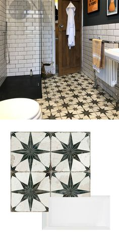 Annie brought her bathroom space back to life by creating a striking statement floor. She used our Scintilla Tiles, which have a star shaped pattern, to form an eye-catching base in the room. On the walls, she opted for White Metro Tiles. The copper-toned Metro Tiles Bathroom, Bathroom Floor Tiles, Bathroom Wallpaper, Downstairs Bathroom, Bathroom Renos, Bathroom Renovations, Small Bathroom, Metro Tiles Kitchen, Bathroom Green