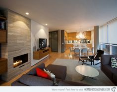 20 Charming Modern Open Living Room Ideas tile fireplace