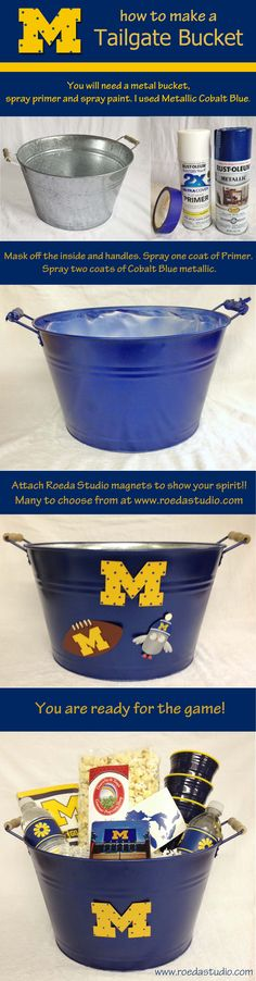 """Want to make a tailgate bucket for your favorite team? This """"how to"""" is for the University of Michigan. Go Blue! Football Banquet, Football Cheer, Football Tailgate, Football Birthday, Michigan Wolverines, Michigan Go Blue, Michigan Game, Tailgate Decorations, Tail Gate"""