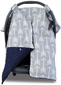 Premium Carseat Canopy Cover and Nursing Cover- Large Arrow Pattern w/ Navy Minky | Best Infant Car Seat Canopy, Boy or Girl | Cool/ Warm Weather Car Seat Cover | Baby Shower Gift 4 Breastfeeding Moms
