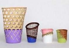 Bins fiber arts, weaving, woven, purple, blue