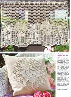 Valance - filet crochet by antonia Filet Crochet, Crochet Borders, Crochet Chart, Thread Crochet, Crochet Motif, Crochet Designs, Crochet Doilies, Crochet Lace, Crochet Stitches