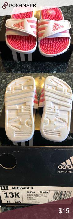 0dd09642d Girls pink and white adidas slides size 13 GUC pink and white Adidas slides.  Pink And White AdidasAdidas SlidesFlip Flop SandalsFlip ...