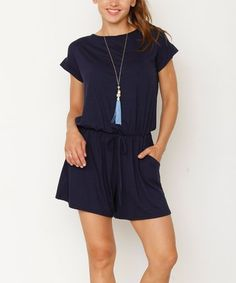 7124a22149b Loving this Navy Drawstring Romper - Women  amp  Plus on  zulily!   zulilyfinds