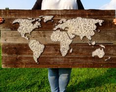 World Map Decal String Art Wood with Wool by BeauGrandMonde