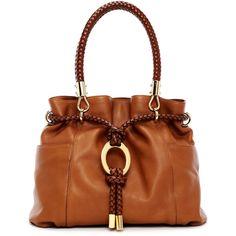 Michael Kors Skorpios Pebbled Leather Drawstring Satchel Bag ($1,195) ❤ liked on Polyvore