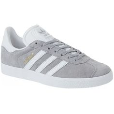 Adidas Originals Gazelle Trainers ($99) ❤ liked on Polyvore featuring shoes, sneakers, adidas, white leather sneakers, adidas originals shoes, leather sneakers, real leather shoes and stripe shoes