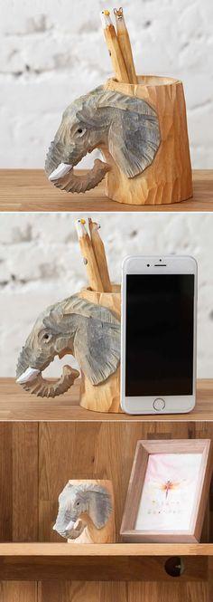 Wooden Elephant Carved Pen Holder