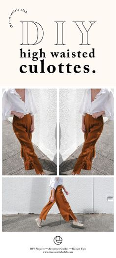 DIY linen high waisted culottes I& been making a bit of an effor& Diy Clothing, Sewing Clothes, Clothing Patterns, High Waisted Culottes, Boho Outfits, Fashion Outfits, Fashion Clothes, Diy Choker, Cooler Style