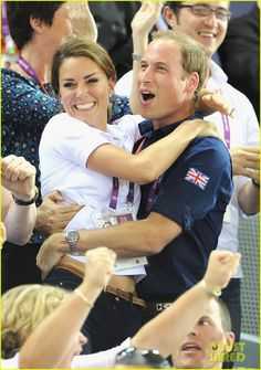 They're so cute together! Kate and William hug each other in celebration of Great Britain's win in the Men's Team Sprint Track Cycling final on Day 6 of the 2012 Summer Olympics at Velodrome on Thursday (August 2) in London, England.