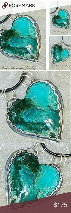 Gem Silica Fine/925 Silver Heart Statement Pendant Even though Gem Silica is one of the most beautiful blue gemstones, most people have never heard of it. That is because it is a very rare gem. It is seldom seen in jewelry and is used mainly by a small number of high-end jewelry designers.    Gem Silica is a combination usually of Copper, Chalcedony, Chrysocolla, Malachite and Quartz leaving greenish or blue colors.  Gem Silica is the most valuable form of Chalcedony. Jewelry Necklaces