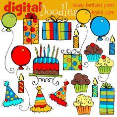 Basic  Birthday Bash Digital Clip Art. $3.50, via Etsy.