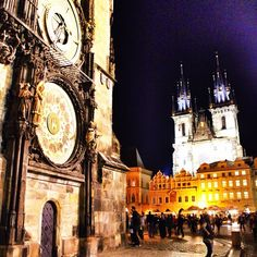 The Astronomical Clock in Prague's central square.