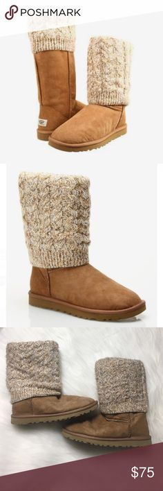 UGG Tularosa Multi-Chestnut Boots UGG Tularosa boots in multi-chestnut. Detachable leg warmers reveal a classic UGG boot. So cute & comfy! Size 6 -fits size 6-7 best. No box. In good pre-owned condition. Soles in excellent condition. Lots of wear left in these babes. Slight pilling on outer leg warmers. Can be removed or re-attached via buttons inside. No modeling/trades. UGG Shoes Ankle Boots & Booties