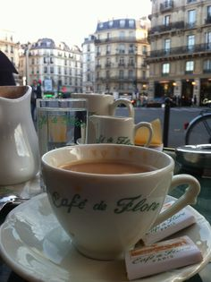 Sat here August 2012 on a lovely evening with McKenzie. We drank in the view from the sidewalk, sipped cafe with cream and enjoyed dinner at Café de Flore, Paris. ~ Wonderful Memory  ☕