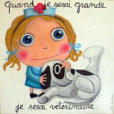Isabelle Kessedjian: MON EDITEUR Cuando Sea Grande, Animals And Pets, Cute Animals, When I Grow Up, Cute Animal Pictures, My Little Girl, Art Plastique, Cute Illustration, Portrait Art