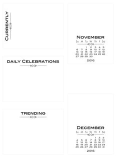 Free Calendar Cards to decorate with stamps, stickers or washi tape from scrappystickyinkymess