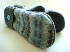 Wool Mittens AQUA GRAY Fair Isle Felted Sweater Wool by WormeWoole