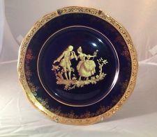 "IMPERIA LIMOGES porcelain plate 22k gold cobalt blue 10"" diameter / with stand"