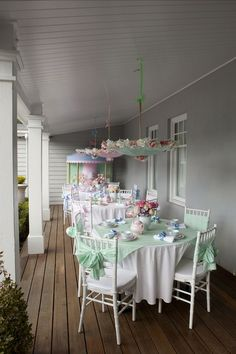 Shabby Chic ♥ Tea Party Hey now check out the umbrellas, above!  Love this for baby shower, bridal shower/luncheon, or just because.
