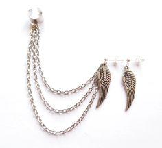 Ear cuff set i silverplätering med vingar.