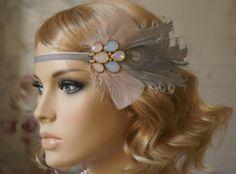 Flapper Haarband 20 er Jahre Haarschmuck grau rosa