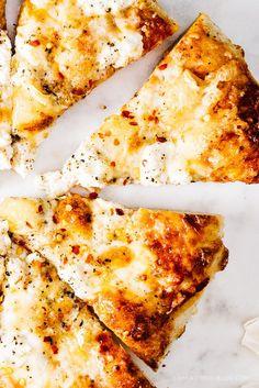 Mozzarella, Parmesan, Brie, and Ricotta Pizza #comfortfood #pizza #recipe