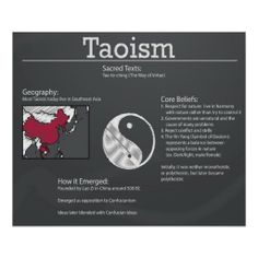 Taoism- Religions and Belief Systems Social Studies classroom posters- chalkboard theme