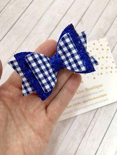Handmade School Bow Light Blue /& Burgundy Double Bow