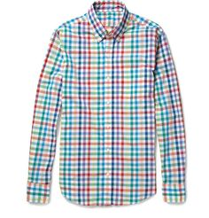 J.Crew Secret Wash Slim-Fit Check Cotton Shirt  e8061612b42