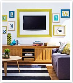 Cute frames including the one around the TV. I could make the big one out of crown molding and paint it.