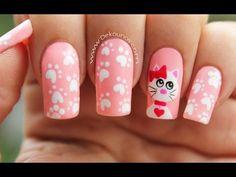 Deko uñas by diana diaz Cat Nail Art, Cat Nails, Fancy Nail Art, Fancy Nails, Nail Polish Designs, Nail Art Designs, Ruby Nails, Nail Bar, Nail Decorations