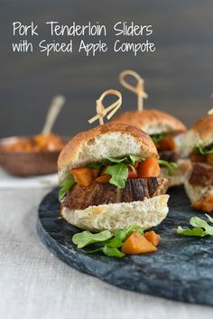 Pork Tenderloin Sliders with Spiced Apple Compote - Seared pork tenderloin topped with spiced cooked apples and peppery arugula. Serve as a party bite or a light dinner! | foxeslovelemons.com