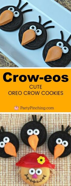 Cute Crow Oreo Cookies for kids classroom Fall, Autumn, Harvest Halloween parties, easy to make crow cookies fun treat ideas for school Bird Cookies, Fall Cookies, Cookies For Kids, Oreo Cookies, Turkey Cookies, Fall Snacks, Cute Snacks, Fall Treats, Halloween Cookies