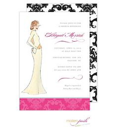 Modern Posh Diva Wedding Shower Invitation ::: Available at Taste Buds on the Avenue! Visit our shop at 530 Penn Ave. W. Reading PA or on the web www.tastebudsontheavenue.com
