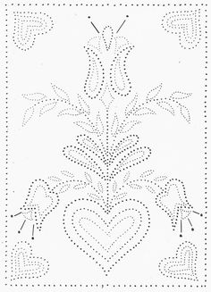 Tin Punch Patterns :: P 1023 Traditional Hearts and Tulips 12 x 16 - Pierced Tin Designs
