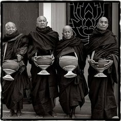 Monks in Tibet and India.