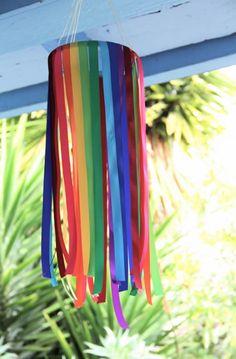 Patrick's Day Rainbow Ribbon Wind Catcher Sock Crafts, Ribbon Crafts, Diy And Crafts, Arts And Crafts, Paper Crafts, Diy For Kids, Crafts For Kids, Rainbow Ribbon, Magazine Crafts