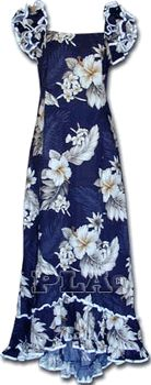Hawaiian Clothing Muumuu (Navy)Plumeria Floral100% Cotton