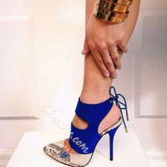 Shoespie Stylish Patchwork Back Lace Up Platform Heels