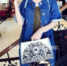 popular cat head vintage clutch evening envelope PU leather shoulder bag sling Handbag Designer Lady girl's women Fashion $24.30