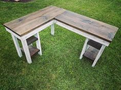 shaped desk of great lovely size top rustic l plan wood industrial corner in large