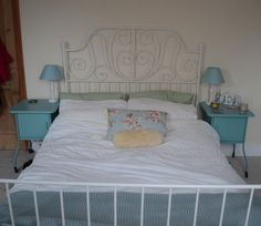 Ikea Leirvik bed, white and turquoise bedroom