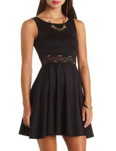 Sleeveless Lace-Waisted Skater Dress: Charlotte Russe